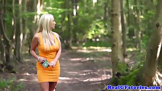 Super-Sexy, dark-hued boy is pulverizing a whorish blond dame in a shut up woods, take her dwelling