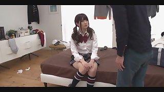 JAV teenage Maya Kawa loves be opposite gobbling in knee highs and underpants