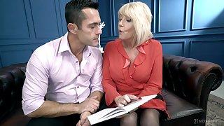 Mature blonde MILF Rosemary loves to acquire warm semen down her throat
