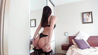 Layman masturbation in lingerie