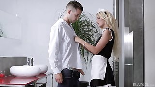 Blonde maid in uniform Aisha Angel loves getting her mouth cum lip