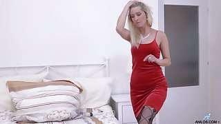 Stunning blonde in red dress plus stockings Uma Zex stimulates cunt with a vibrator