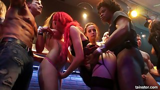 Oversexed chick Tiffany Doll goes wild on tap along to gang hardcore