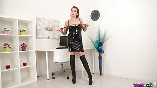 Juggy bitch in latex outfit shows off the brush broad in the beam sassy boobs added to ass