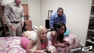 Two horny stepdads swap their stepdaughters and turtle-dove their yummy holes
