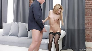 Sonia Sweet sucked every inch of friend's fat cock before possessions banged