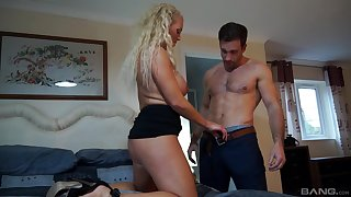 Curly haired mature peaches Rebecca Jane Smythe bends over for a dick