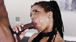 Black girl sloppily deepthroats a BBC